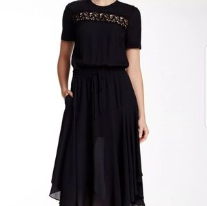 A.L.C. ardell silk midi dress embroidered chest